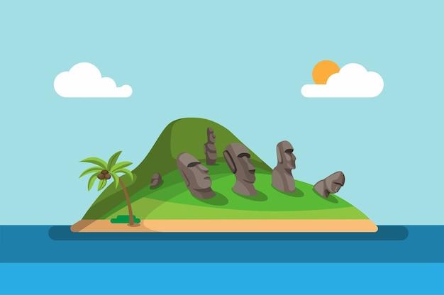 Остров пасхи, национальный парк рапа-нуи, является объектом всемирного наследия в чили концепции иллюстрации Premium векторы
