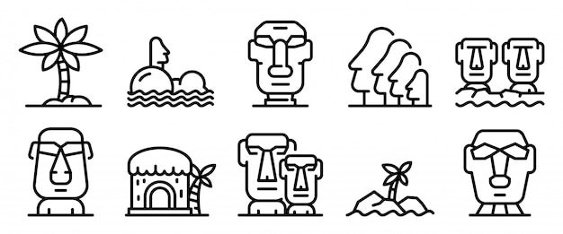 Easter island icons set, outline style