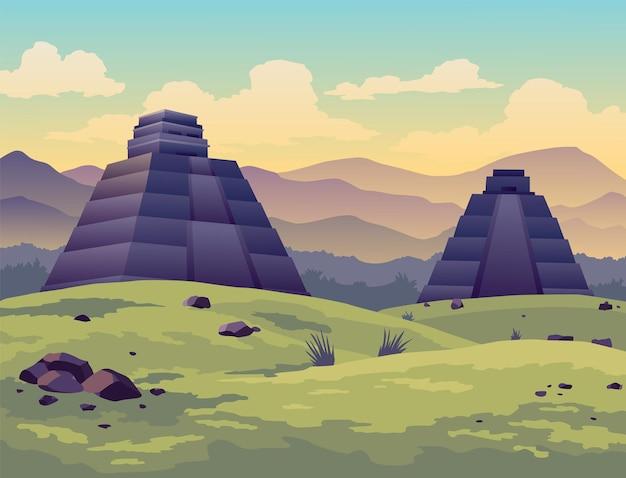 イースター島。古代マヤのピラミッドやモアイ像の旅人。有名な旅行風景の場所のバナー。観光と休暇の熱帯の背景