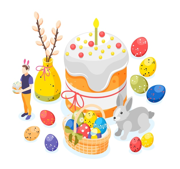 Easter isometric background composition with images of painted eggs big easter cake bunny and willow branch illustration