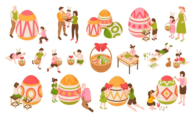 Easter isometric color elements set of children painting big eggs together with their parents and grandparents isolated