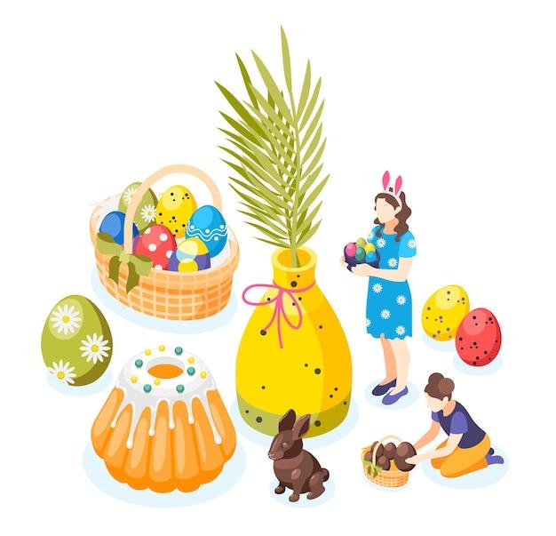 Easter isometric elements set