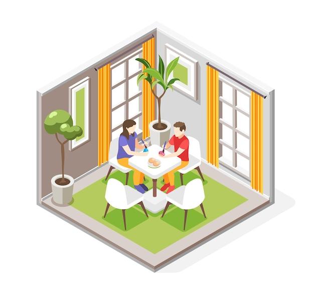 식탁에 계란을 그리는 인간 캐릭터가 있는 식당의 실내 전망이 있는 부활절 아이소메트릭 그림