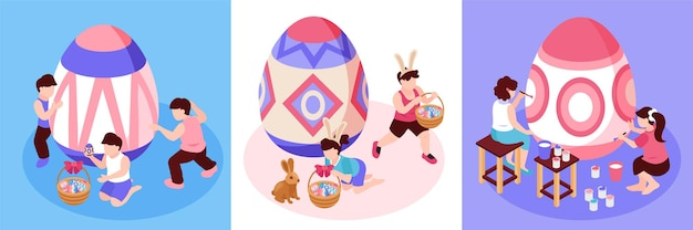Insieme isometrico di pasqua di tre illustrazioni quadrate con piccoli personaggi per adulti e bambini che dipingono grandi uova