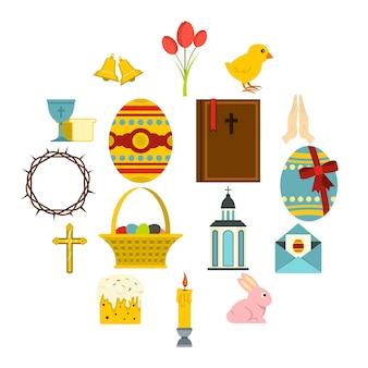 Набор иконок пасхальных предметов в плоском стиле