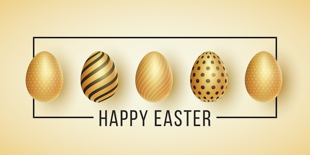 Easter label. golden eggs with a pattern on a light background. black frame with text.
