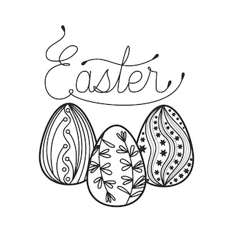 Easter label isolated icon