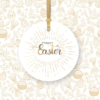 Easter label with hand made trendy lettering