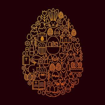 Пасхальная линия значок яйца концепции. векторная иллюстрация объектов весеннего праздника.