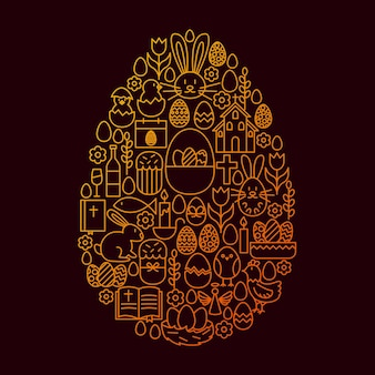 Easter line icon egg concept. vector illustration of spring holiday objects.