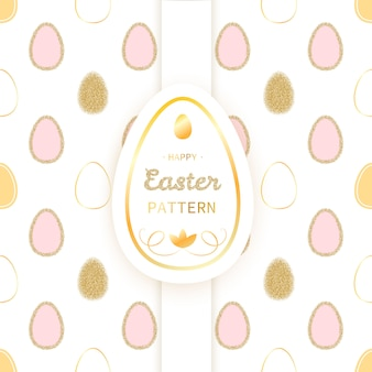 Easter luxury seamless pattern with glitter golden eggs