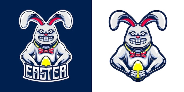 Easter masctot logo with bunny and golden egg