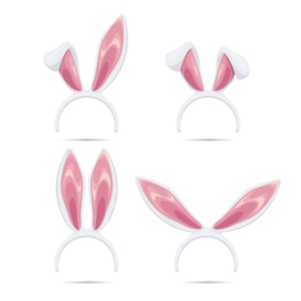 Easter masks set. vector rabbit ears masks collection for easter. rabbit ears