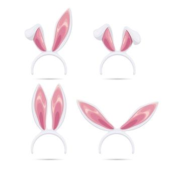 부활절 마스크를 설정합니다. 부활절을위한 벡터 토끼 귀 마스크 컬렉션입니다. 토끼 귀