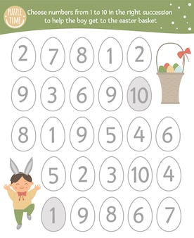 Easter math game with cute characters