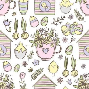 お祝いの春の花束の花、かわいいひよこ、鳥の巣箱とイースターマグ手描きの漫画のシームレスなパターン