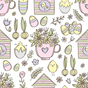 Easter mug with festive spring bouquet flower, cute chicks and birdhouses with birds hand drawn cartoon seamless pattern