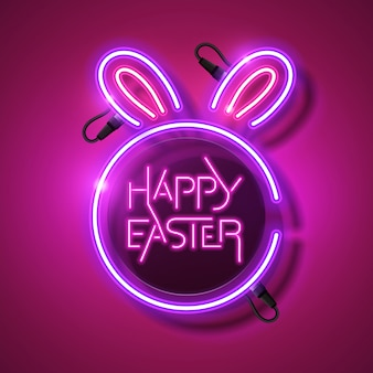 Easter neon with pink background