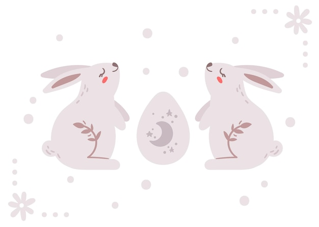 Открытка на пасху с милым кроликом или банни и пасхальным яйцом