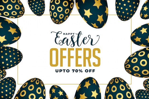 Easter offer and sale banner with golden eggs