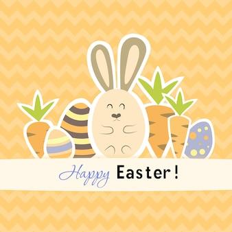 당근과 토끼 부활절 오렌지 카드입니다. 벡터 일러스트 레이 션