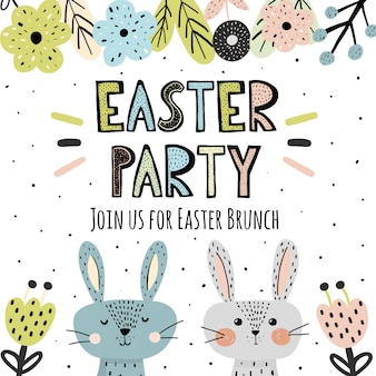 Easter party invitation with cute bunnies