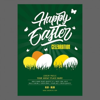 Easter party poster design Free Vector