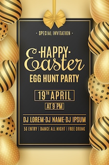 Easter party poster. golden eggs with a pattern. invitation greeting card. egg hunt event.