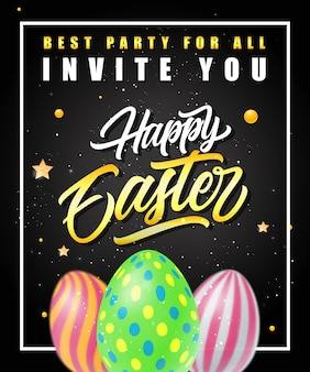 Пасхальный партийный плакат с цветными яйцами