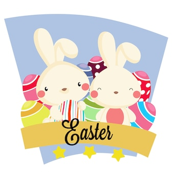 Easter party with present rabbit ribbon box