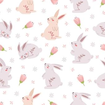 イースターパステルシームレスパターン、自由奔放に生きるイースターウサギまたはバニー