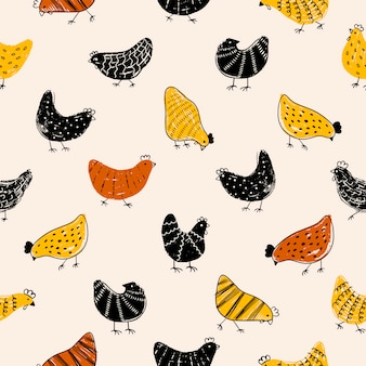 Easter pattern texture with chicken.