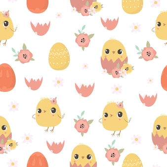 Easter pattern with chickens