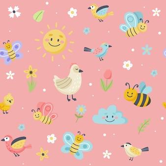 귀여운 나비, 꿀벌, 새와 부활절 패턴입니다. 손으로 그린 평면 만화 요소.