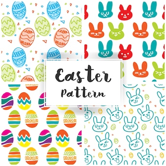 Easter pattern with cute rabbit and easter eggs