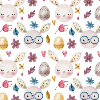 Easter pattern with easter eggs, bunnies, flowers and hearts