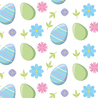 Easter pattern with eggs and flowers
