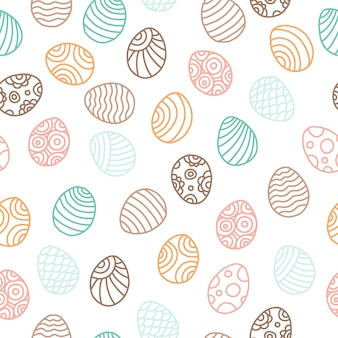 Easter pattern with eggs, vector seamless texture