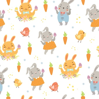 Easter pattern with hares and carrots