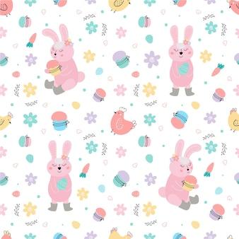 토끼 케이크 계란 버드 나무 꽃 벡터 일러스트와 함께 부활절 패턴