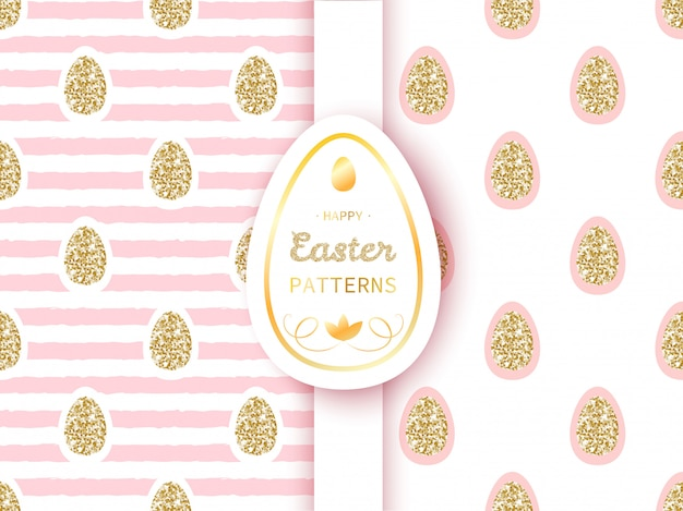 Easter patterns with golden eggs on stripe background