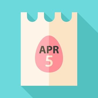 4月5日と卵のサインが付いたイースターの紙。影付きのフラットな様式化されたイラスト