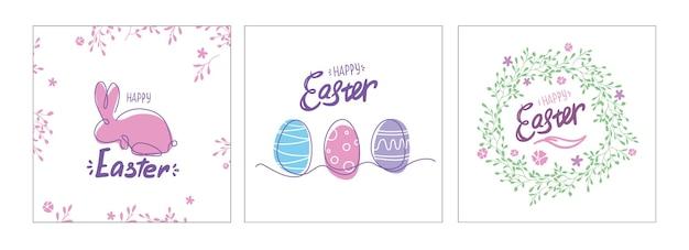 イースターポストカードセット。卵、ウサギ、花輪のカード。一本の線画。カラフルな春のポスターやバナー。