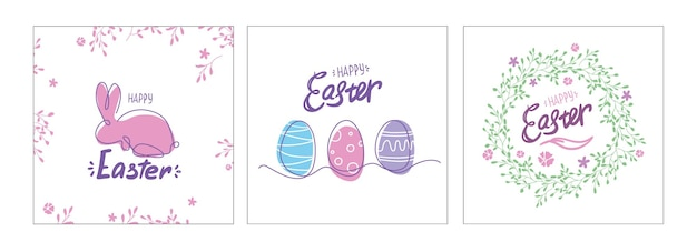 Easter postcards set. card with eggs, bunny and wreath. one line drawing. colorful spring poster or banner.