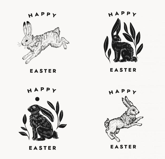 白い背景にバニー表記構成とイースターのポストカード。イースターのウサギのロゴ。ビンテージスタイルのウサギの分離黒と白の手夜明けイラスト。