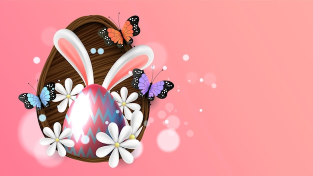 Easter poster background template with easter eggs