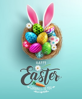 Easter poster and banner template with easter eggs in the nest