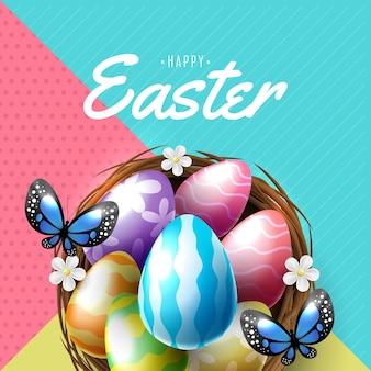 Modello di poster e banner di pasqua con le uova di pasqua nel nido