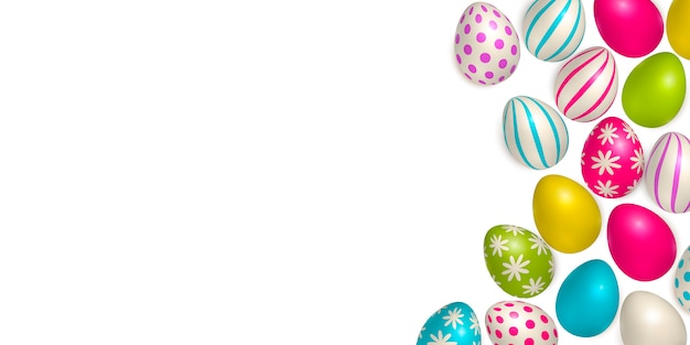 Easter poster and banner template with easter eggs