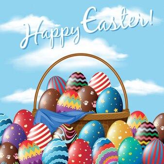 바구니에 계란 부활절 포스터 디자인